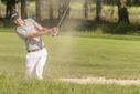 05-06-15 NGF 2015, Nationaal Strokeplay Kampioenschap Dames & Heren, Heren, Golfclub De Hoge Kleij, Leusden, Nederland. 04-06 juni. Peter  Melching of Holland , amateur bunkershot tijdens de wedstrijd.
